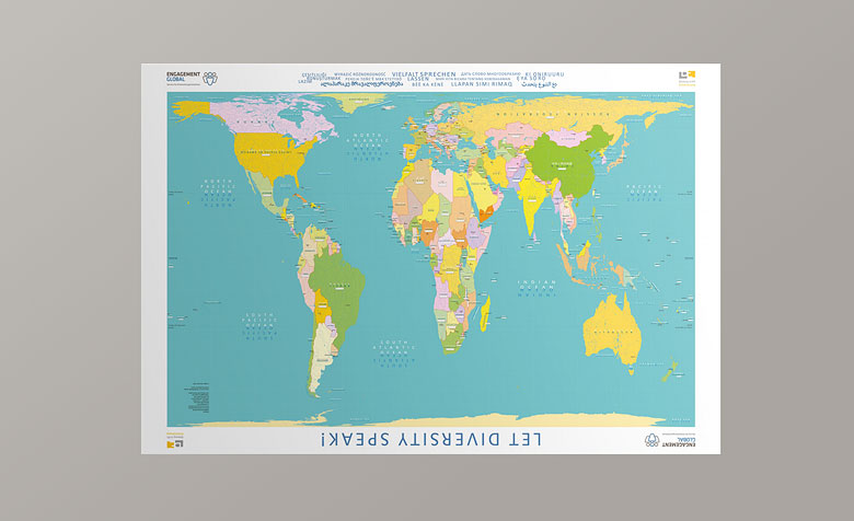"El mapa del mundo ""Let Diversity Speak""."